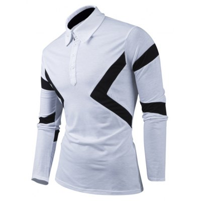 Turn-Down Collar Color Block Spliced Long Sleeve Men's T-Shirt