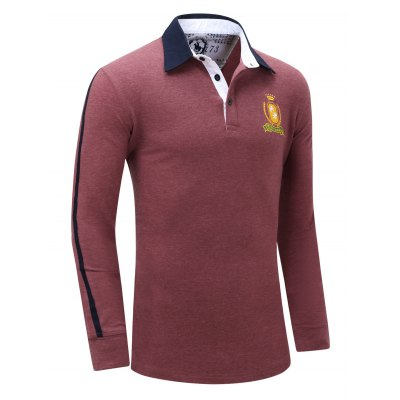 Embroidered Turn Down Collar Long Sleeve Polo Shirt For MenMens Long Sleeves Tees<br>Embroidered Turn Down Collar Long Sleeve Polo Shirt For Men<br><br>Material: Cotton Blends<br>Sleeve Length: Full<br>Collar: Turn-down Collar<br>Style: Casual<br>Embellishment: Embroidery<br>Pattern Type: Letter<br>Season: Fall,Spring<br>Weight: 0.415kg<br>Package Contents: 1 x Polo Shirt