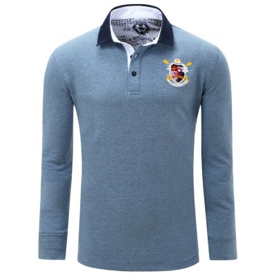 Embroidered Patch Turn Down Collar Long Sleeve Polo Shirt