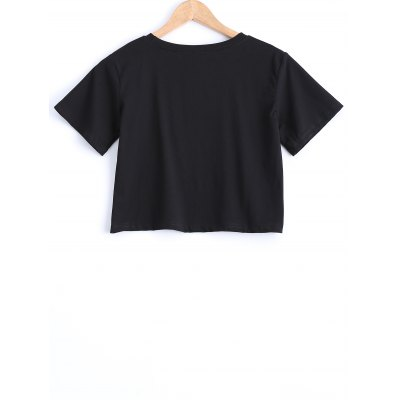 Stylish RoundNeckLetter Print Crop Top For Women