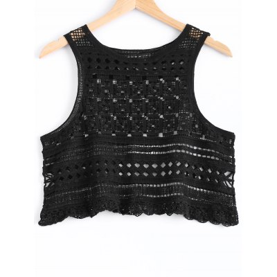 Hollow Out Knitted Crop Top For Women