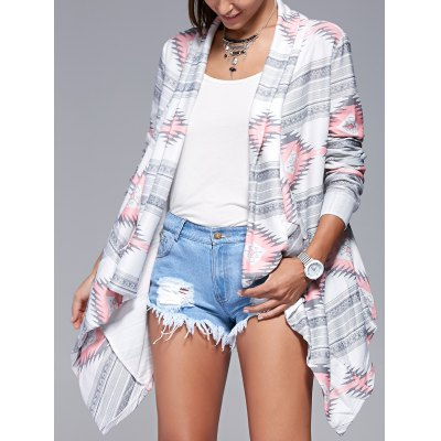 Geometric Print Long Sleeve Irregular Cardigan
