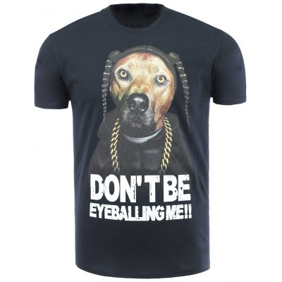 Cotton Blends 3D Dog and Letters Print Round Neck Short Sleeve T-Shirt