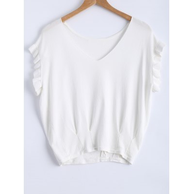 Casual V-Neck Ruffle Sleeves Knitwear For Women