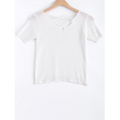 Lace-Up Solid Color Short Sleeves  Knitwear For Women