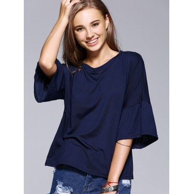 Chic Flare Sleeve Solid Color T-Shirt For Women