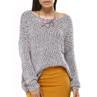 Long Sleeve Boat Neck Solid Color Sweater
