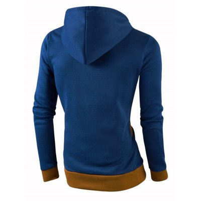 Stylish Color Block Spliced Slim Fit Long Sleeve Hoodies For Men
