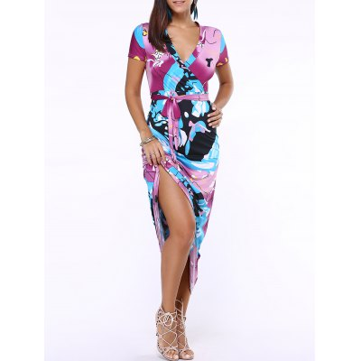 Plunging Neck Short Print Belted Maxi Dress For Women