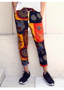 Lace-Up Ethnic Style Print Splicing Nine Minutes of Pants For Men