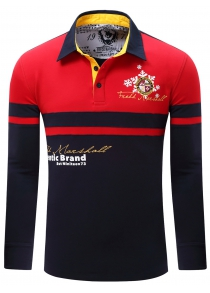 Letter Snowflake Print Embroidered Patch Color Splicing Polo Shirt For Men