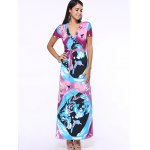 cheap Plunging Neck Print Belted Maxi Dress