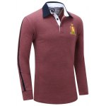 cheap Embroidered Turn Down Collar Long Sleeve Polo Shirt For Men