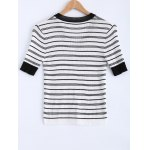 cheap Casual V-Neck Stripe Short Sleeves Knitwear For Women
