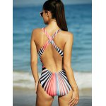 Rainbow Stripe Hollow Out Backless One-Piece Swimsuit deal