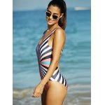 cheap Rainbow Stripe Hollow Out Backless One-Piece Swimsuit