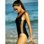 cheap Black Hollow Out Backless One-Piece Swimsuit
