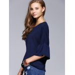 Chic Flare Sleeve Solid Color T-Shirt For Women deal