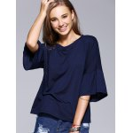 cheap Chic Flare Sleeve Solid Color T-Shirt For Women