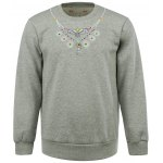 Cotton Blends Leaf and Eagle Necklace Embroidered Round Neck Sweatshirt