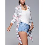 cheap Geometric Print Long Sleeve Irregular Hem Cardigan
