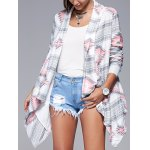 Geometric Print Long Sleeve Irregular Hem Cardigan