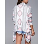 Geometric Print Long Sleeve Irregular Hem Cardigan deal