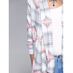 Geometric Print Long Sleeve Irregular Hem Cardigan for sale