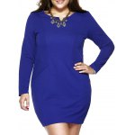Plus Size Brief Slash Pockets Blue Dress