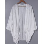 Fashionable 3/4 Sleeve Loose-Fitting Lace Spliced Cardigan