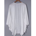 cheap Fashionable 3/4 Sleeve Loose-Fitting Lace Spliced Cardigan