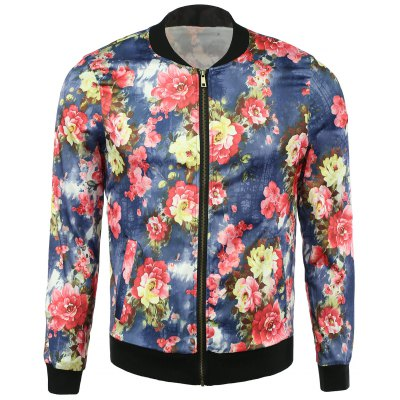 Casual Floral Bomber Jacket