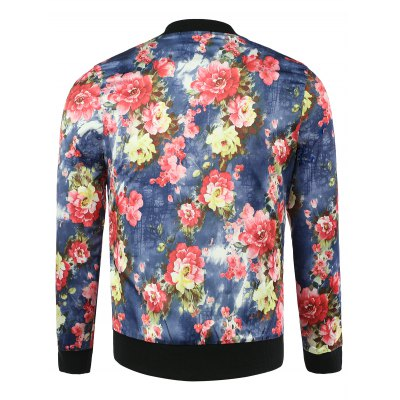 Stand Collar 3D Flower Print Long Sleeve Jacket For Men