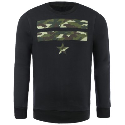 Camo Star Patch Pullover Sweatshirt