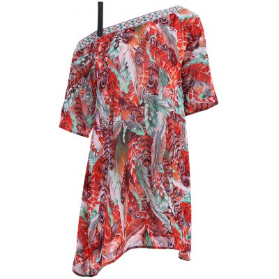 Off The Shoulder Feather Print Half Sleeve Dress For Women
