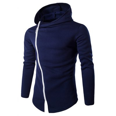 Diagonal Zipper Design Long Sleeve Hoodies For Men