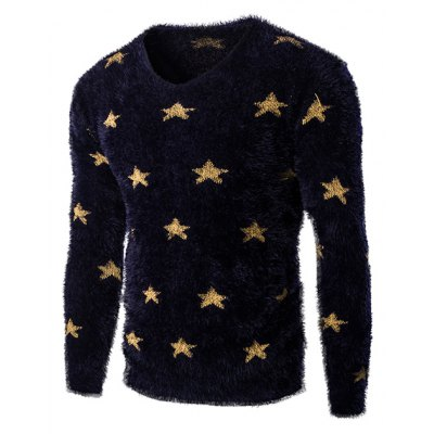 V-Neck Long Sleeve Stars Mohair Sweater For Men
