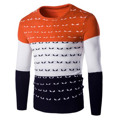 Color Spliced Round Neck Long Sleeve Pullover Knitwear