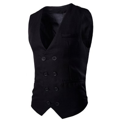 Buckle Back Solid Color Double Breasted Vest