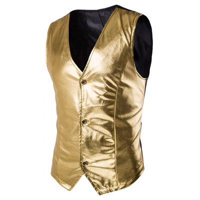 Metallic Spliced Single Breasted Vest