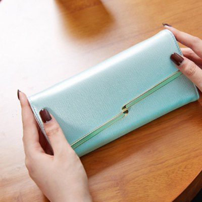 Stylish Metal and Solid Colour Design Wallet For WomenWomens Wallets<br>Stylish Metal and Solid Colour Design Wallet For Women<br><br>Wallets Type: Clutch Wallets<br>Gender: For Women<br>Style: Fashion<br>Closure Type: Hasp<br>Pattern Type: Solid<br>Main Material: PU<br>Length: 19CM<br>Width: 2.5CM<br>Height: 9.3CM<br>Weight: 0.350kg<br>Package Contents: 1 x Wallet