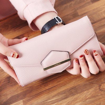 Sweet Magnetic Closure and Metal Design Wallet For WomenWomens Wallets<br>Sweet Magnetic Closure and Metal Design Wallet For Women<br><br>Wallets Type: Clutch Wallets<br>Gender: For Women<br>Style: Fashion<br>Closure Type: Hasp<br>Pattern Type: Solid<br>Main Material: PU<br>Length: 19CM<br>Width: 3CM<br>Height: 9.5CM<br>Weight: 0.350kg<br>Package Contents: 1 x Wallet