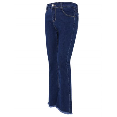 Stylish Pocket Design Fringed Solid Color Women's Jeans