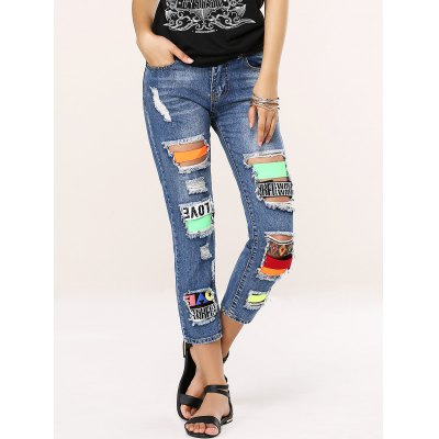 Women's Stylish Colorful Icon Spliced Destroyed Jeans