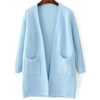 Fashion Long Sleeve Solid Color Pockets Cardigan For Women