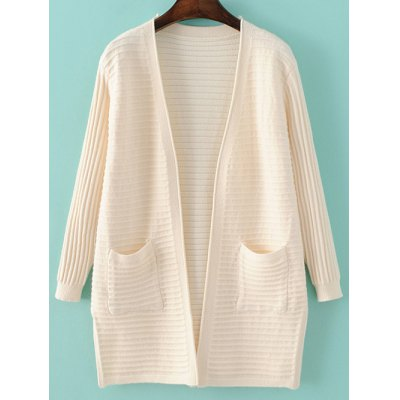 Long Sleeve Solid Color Pockets Cardigan