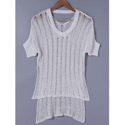 High Low Hem Hollow Out Knitwear