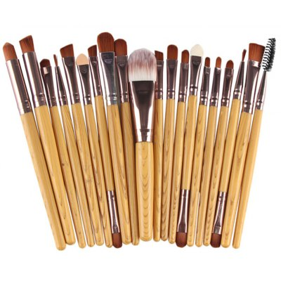 Stylish 20 Pcs Wood Grain Handle Nylon Face Eye Lip Makeup Brushes Set