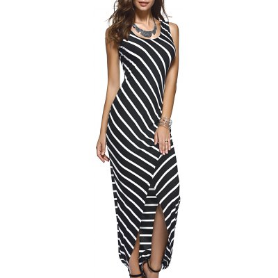 Asymmetric Striped Tank Maxi Dress