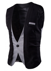 Buckle Back Color Splicing One Button Vest For Men